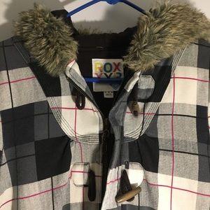 ROXY plaid jacket with faux fur hood